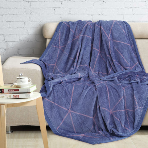 Malako Printed Single Heavy Plush Navy Blue Geometrical Blanket