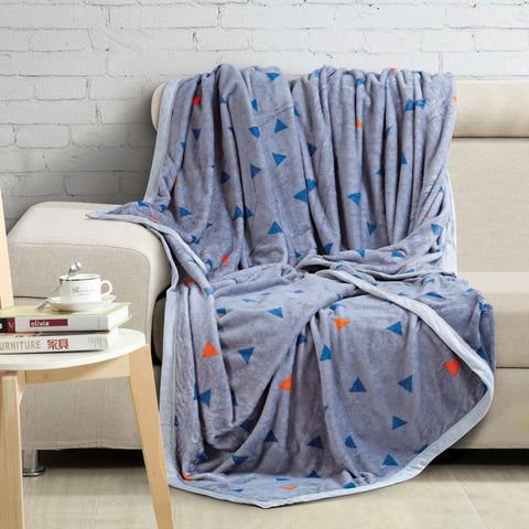 Malako Printed Single Heavy Plush Carbon Black Geometrical Blanket