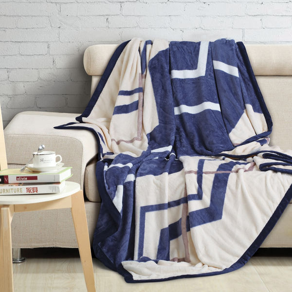 Malako Printed Double Heavy Plush Navy Blue Leaves Blanket