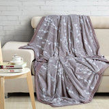 Malako Printed Single Heavy Plush Chestnut Brown Stripes Blanket