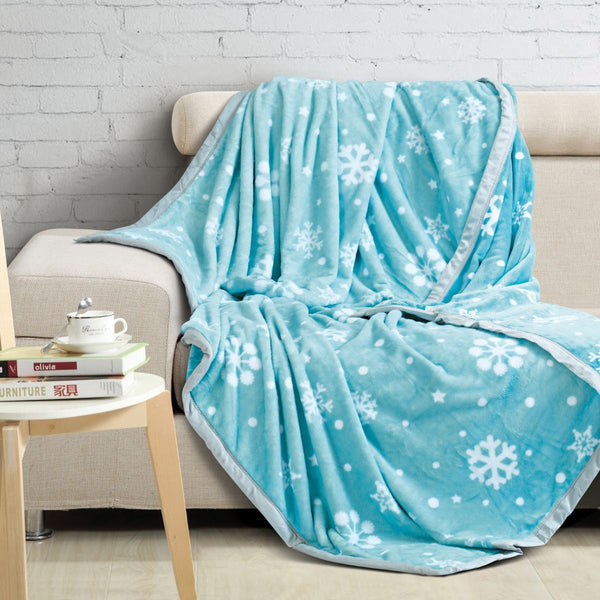 Malako Printed Double Heavy Plush Aqua Blue Snow Blanket