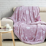 Malako Printed Single Heavy Plush Rose Pink Leaves Blanket