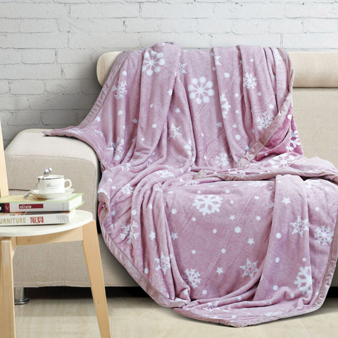 Malako Printed Double Heavy Plush Rose Pink Leaves Blanket