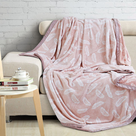 Malako Printed Double Heavy Plush Peach Leaves Blanket