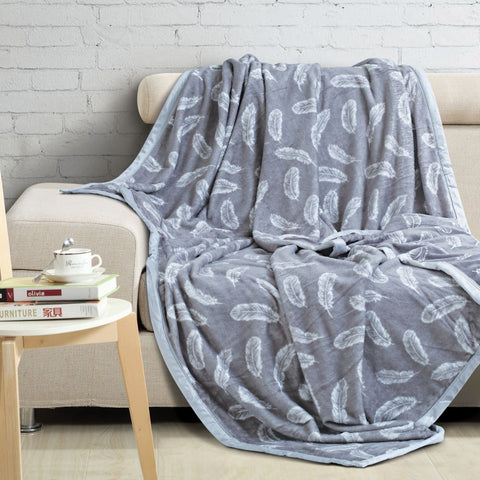 Malako Printed Double Heavy Plush Lunar Grey Leaves Blanket