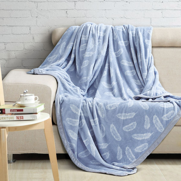 Malako Printed Double Heavy Plush Sky Blue Ocean Blanket