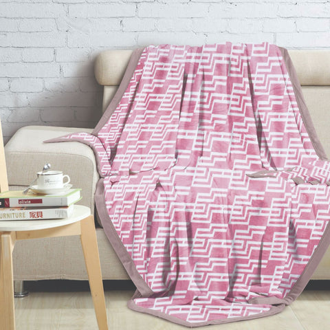 Malako Printed Double Heavy Plush Rose Pink Geometrical Blanket