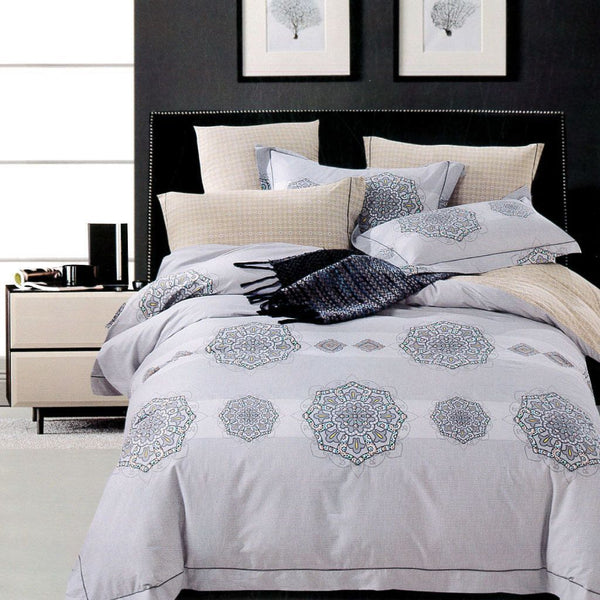 Malako Royale XL 100% Cotton Grey Abstract Bedding Set