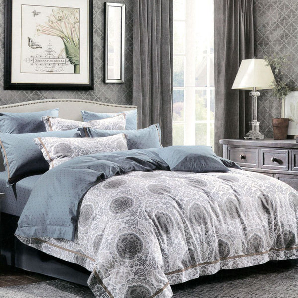 Malako Royale XL 100% Cotton Grey Ethnic Bedding Set