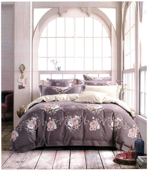 Malako Royale XL 100% Cotton Jeffrey Plum Floral Bedding Set