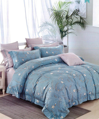 Malako Royale XL 100% Cotton Sea Blue Botanic Bedding Set