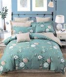 Malako Royale XL 100% Cotton Leaf Green Floral Bedding Set