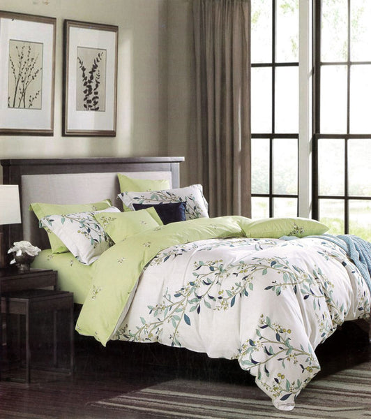 Malako Royale XL 100% Cotton Off White Botanic Bedding Set
