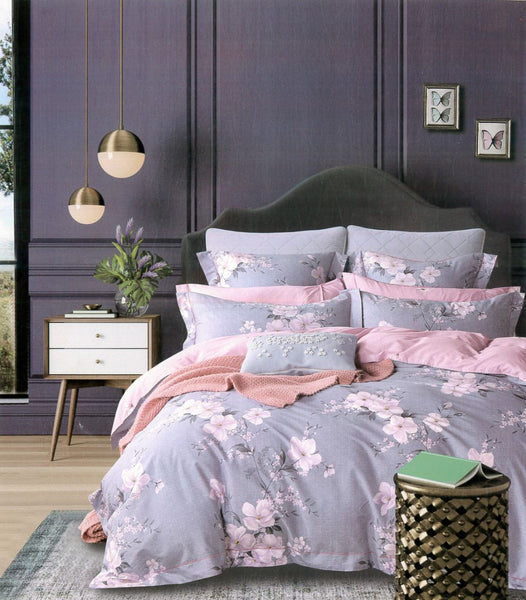 Malako Royale XL 100% Cotton Lavender Floral Bedding Set