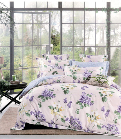 Malako Royale XL 100% Cotton Lilac Botanic Bedding Set