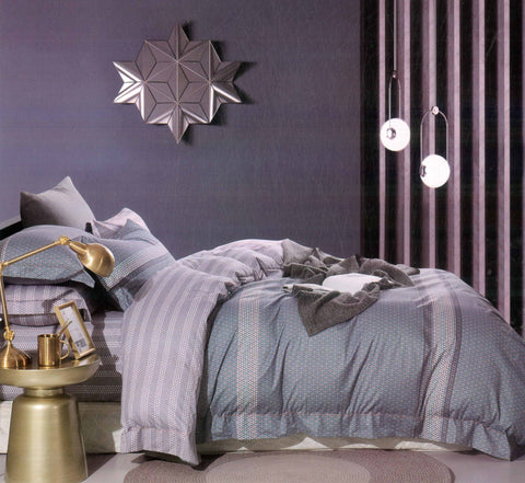 Malako Royale XL 100% Cotton Pewter Grey Abstract Bedding Set
