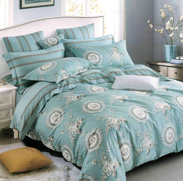 Malako Royale XL 100% Cotton Tiffany Blue Ethnic Bedding Set