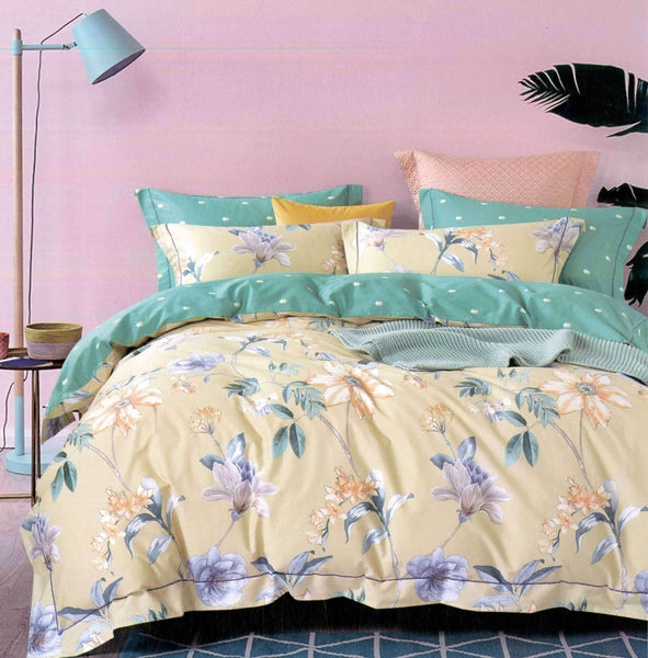 Malako Royale XL 100% Cotton Flax Yellow Botanic Bedding Set