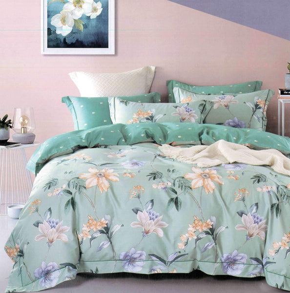 Malako Royale XL 100% Cotton Pistachio Green Botanic Bedding Set