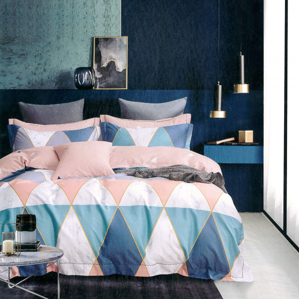 Malako Royale XL 100% Cotton Peach & Blue Abstract 6 Piece Bedding Set