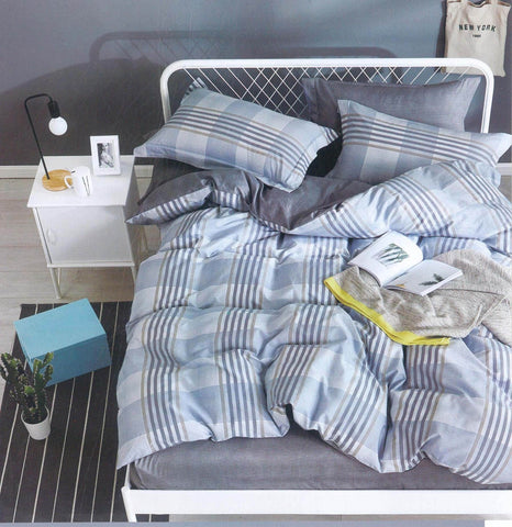 Malako Royale XL Grey & Blue Checks & Stripes Bedsheet