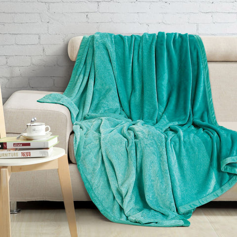Malako Shaded Double Heavy Plush Sea Green Blanket