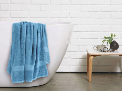 Malako Towels 100% Cotton Cornflower Blue Plain Towels