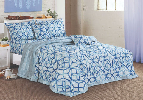 Malako Textures Bedding Set 100% Cotton Aqua Abstract Bedding Set