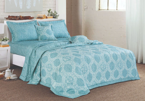 Malako Textures Printed 100% Cotton King Size 6 Piece Bedding Set
