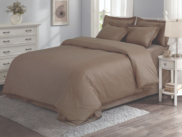Malako Vibrant Fine Cotton Coffee Solid Bedding Set