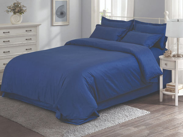 Malako Vibrant Fine Cotton Space Blue Solid Bedding Set