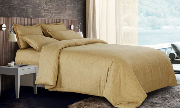 Petal Soft Blends 100% Cotton Mustard Yellow Textures Bedding Set