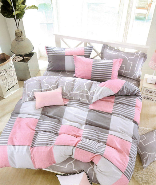 Petal Soft Comfort XL 100% Cotton Grey & Pink Abstract Bedding Set