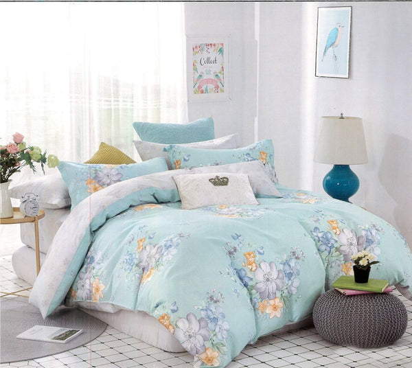 Petal Soft Comfort XL 100% Cotton Sea Green Botanic Bedding Set