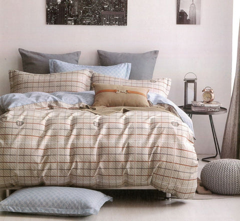 Petal Soft Comfort XL 100% Cotton Beige Checks 6 Piece Bedding Set