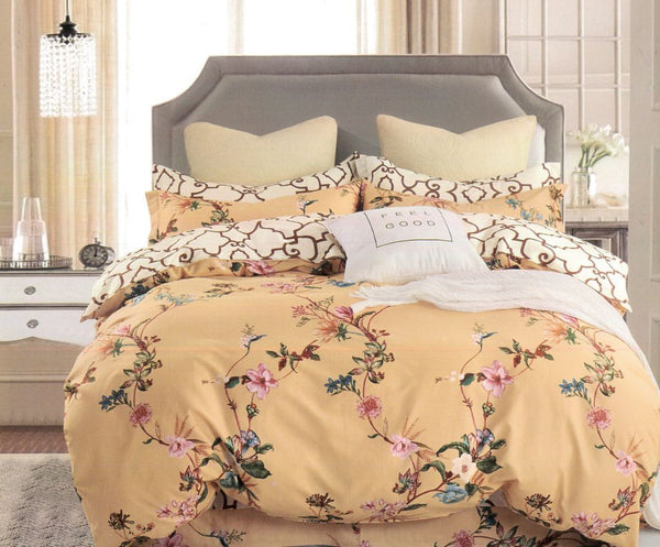 Petal Soft Comfort XL 100% Cotton Deep Beige Botanic 6 Piece Bedding Set