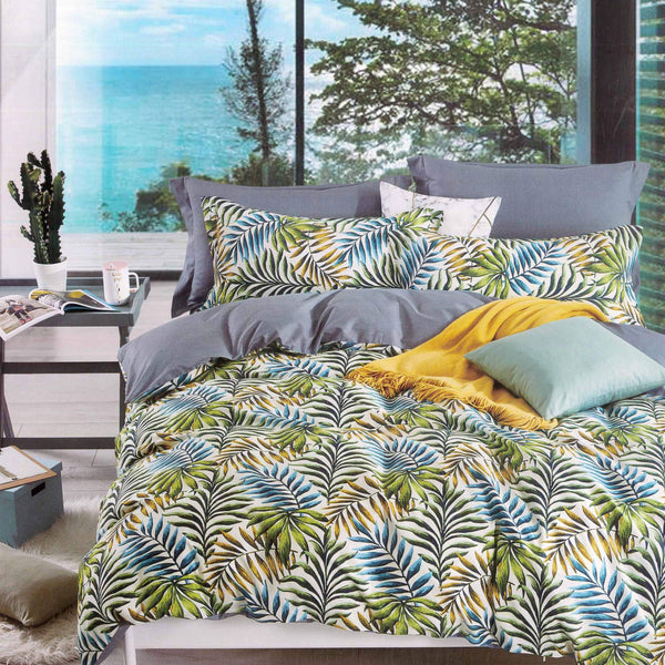 Petal Soft Comfort XL 100% Cotton Blue & Green Leaves Bedding Set