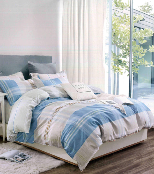 Petal Soft Comfort XL 100% Cotton Azure Blue & Grey Abstract Bedding Set