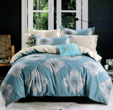 Petal Soft Comfort XL 100% Cotton Carolina Blue Ethnic Bedding Set