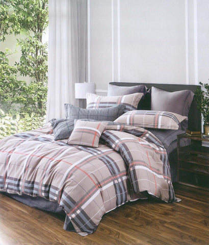 Petal Soft Comfort XL 100% Cotton Fohn Checks & Stripes 6 Piece Bedding Set