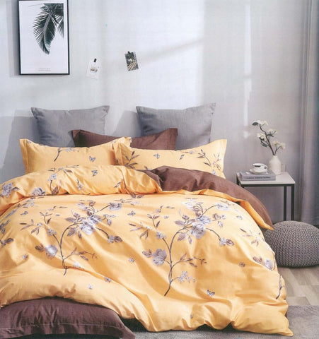 Petal Soft Comfort XL 100% Cotton Daffodil Yellow Botanic 9 Piece Duvet Set with Microfibre Quilt