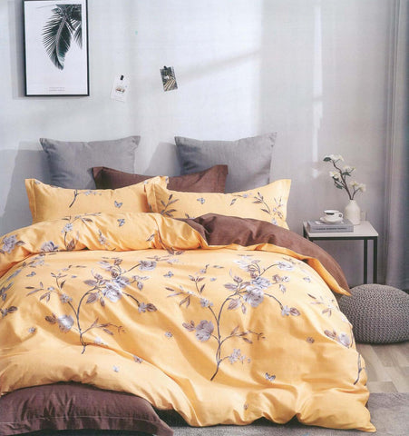 Petal Soft Comfort XL 100% Cotton Daffodil Yellow Botanic 6 Piece Bedding Set