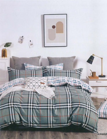 Petal Soft Comfort XL 100% Cotton Olive Green Checks & Stripes 6 Piece Bedding Set