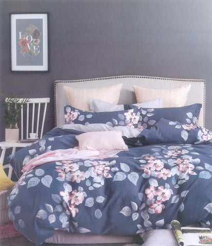 Petal Soft Comfort XL 100% Cotton Blue Floral 6 Piece Bedding Set