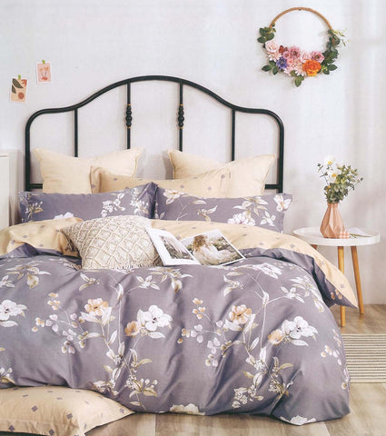 Petal Soft Comfort XL 100% Cotton Grey Botanic 6 Piece Bedding Set