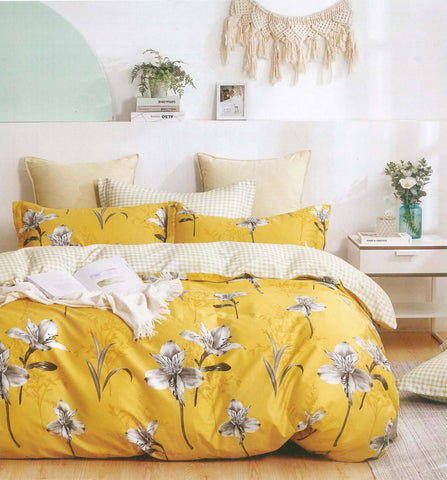 Petal Soft Comfort XL 100% Cotton Bumblebee Yellow Botanic 6 Piece Bedding Set