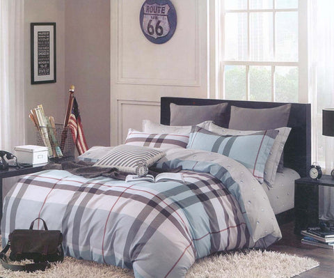 Petal Soft Comfort XL 100% Cotton Blue & Grey Checks & Stripes 6 Piece Bedding Set