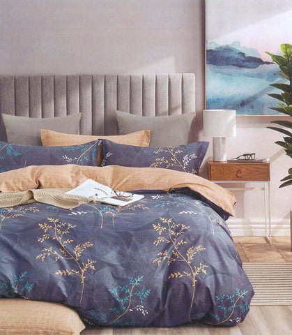 Petal Soft Comfort XL 100% Cotton Blue Botanic 9 Piece Duvet Set with Microfibre Quilt
