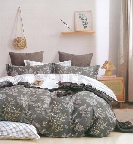 Petal Soft Comfort XL 100% Cotton Army Green Botanic 9 Piece Duvet Set with Microfibre Quilt