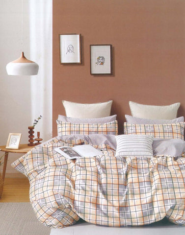 Petal Soft Comfort XL 100% Cotton Grey & Yellow Checks 9 Piece Duvet Set with Microfibre Quilt